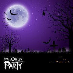 Halloween scary on purple background, vector