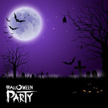 Halloween scary on purple background, vector