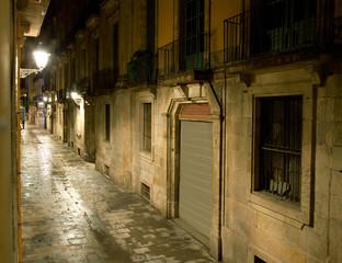 Empty alleyway in Barcelona. Spain. Street Carrer dels Tallers.