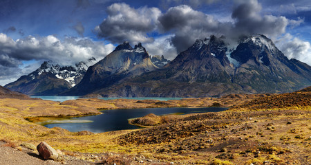 Wall Mural - Mountain panorama, Torres del Paine National Park, Patagonia, Ch