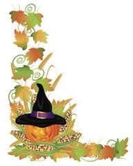 Halloween Pumpkin Jack-O-Lantern and Vines Border Illustration