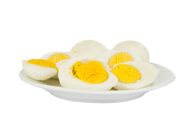 boiled egg in a bowl isolated