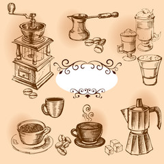 Coffee hand drawn elements.