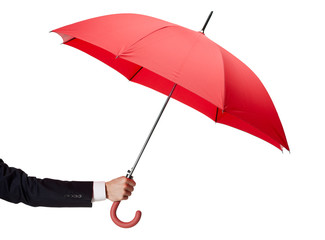 Close up of opened opened umbrella in hand, isolated on white