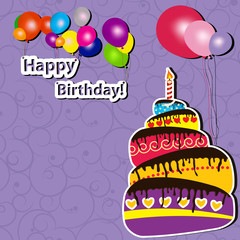 Vector illustration of Birthday card with cake and balloons