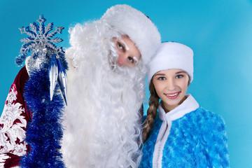 Snow-maiden and Santa Claus