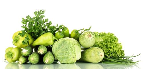 fresh green vegetables isolated on white