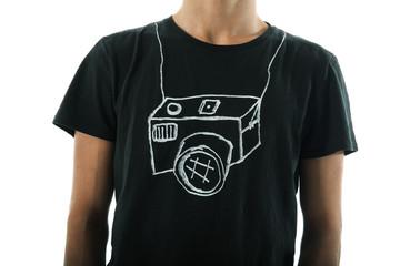 Appareil photo imprimé sur un vêtement