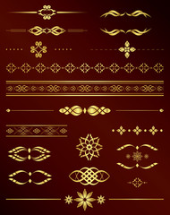 gold vintage elements for design - vector set