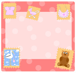 arrival announcement-with place for text and baby icons