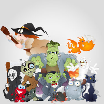 Halloween Monsters Family - Devil, Cat, Witch and More