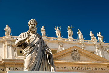 Statue Apostle in front of the Basilica of St. Peter, Vatican