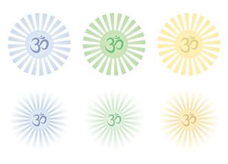 set of shining Om signs vector illustration