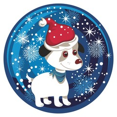 Tuinposter Honden Christmas Snow Globe With Puppy