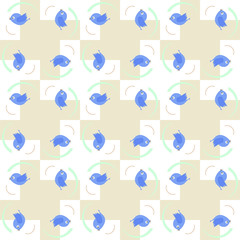 Blue birds seamless pattern