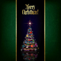 Abstract Christmas greeting with tree and decorations
