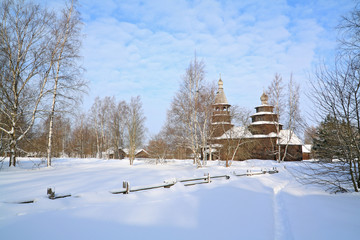 wooden chapel in winter village