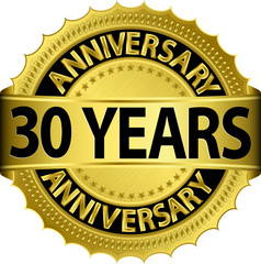 30 years anniversary golden label with ribbon