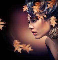 Autumn Woman. Fashion Girl Makeup. Fall