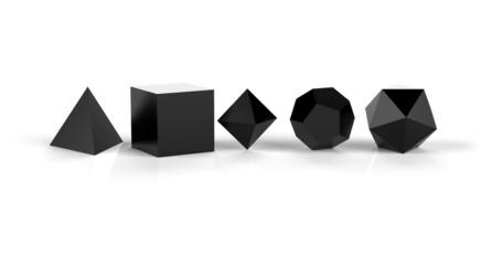 3D Platonische Körper der heiligen Geometrie - Schwarz glänzend