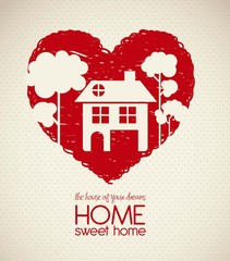 house silhouette on heart sketch