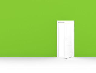 Open door green room