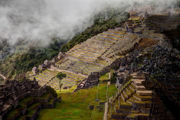 Views around Machu Picchu Inca ruins in the cioud forest Peru