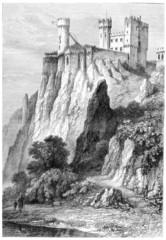 Rheinstein Castle in Rhineland-Palatinate, Germany, vintage engr