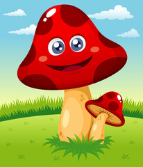 Photo sur Plexiglas Monde magique illustration of Happy cartoon red mushroom vector