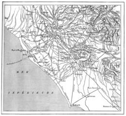 Roman countryside map, vintage engraving.