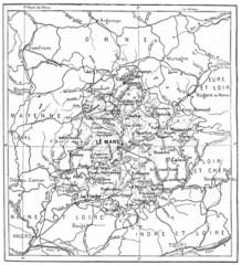 Map of Department of Sarthe vintage engraving