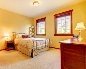 Large bedroom with metal bed and two windows.