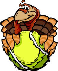 Tennis Happy Thanksgiving Holiday Turkey Cartoon Vector Illustra