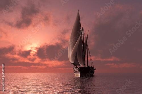 корабли на закате  № 3504131 бесплатно
