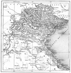 Map of Tonkin or Tongkin, vintage engraving.