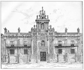 University of Valladolid in Castile-Leon in Spain, vintage engra