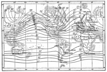 Map of isothermal lines or isothermals of winter, vintage engrav