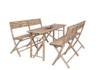 Bambus Gartenmöbel 2 Bänke 1 Tisch - Bierzeltgarnitur asiatisc