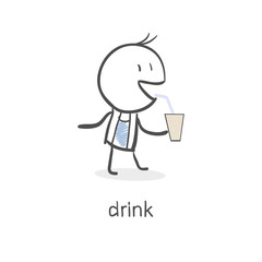 Person drinks.