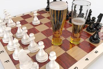 Бокалы с пивом на шахматной доске