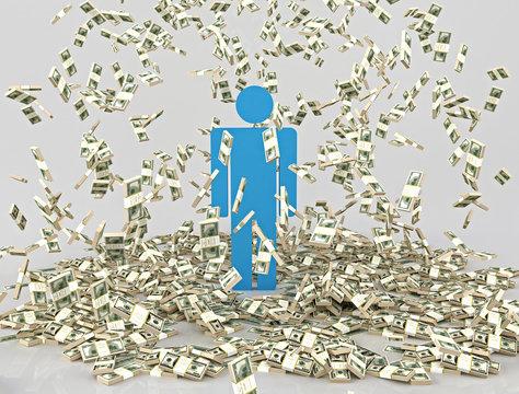 Человек осыпаемый денежными купюрами