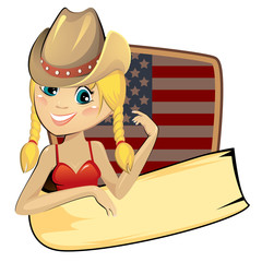 Stores à enrouleur Ouest sauvage American banner with cowgirl and flag