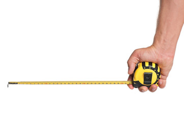 Hand with tape measure