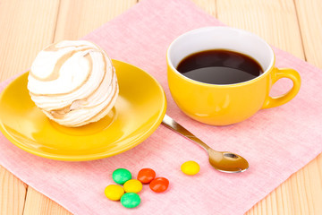 Easy marshmallow on wooden table