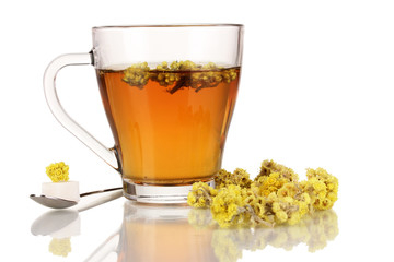 A cup of tea with immortelle isolated on white