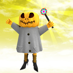 pumpkin witch with charming wand with yellow sunset