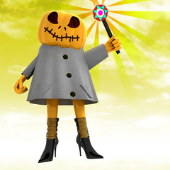 pumpkin witch with magic wand with yellow sunset illustration