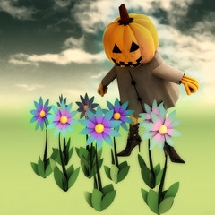 pumpkin witch in mystic flower dark garden illustration