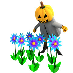 isolated pumpkin witch in mystic flower garden illustration