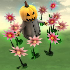 halloween pumpkin witch in magic flower garden illustration